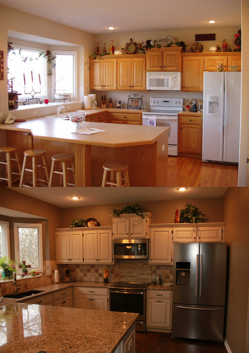 Kitchen Refinish - Golden Oak to Java/Creme
