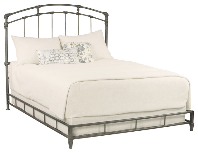 Cassidy Metal Platform Bed, Silver Bisque Finish, Eastern King.