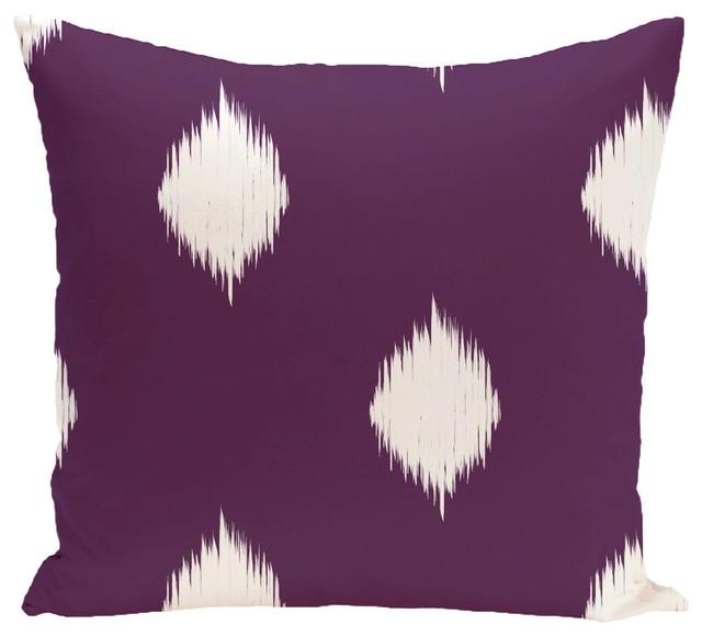 "Hol-I-Kat, Decorative Holiday Ikat Print Pillow, Purple, 18""x18""."