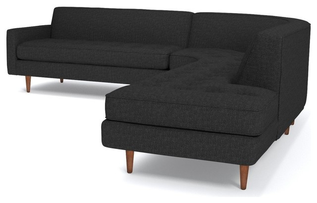 Monroe 3 Piece Sectional Sofa, Coal, Chaise On Left