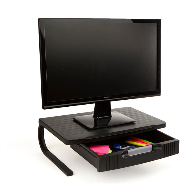 Plastic Monitor Stand Computer Riser With Metal Leg Support And Drawer, Black.