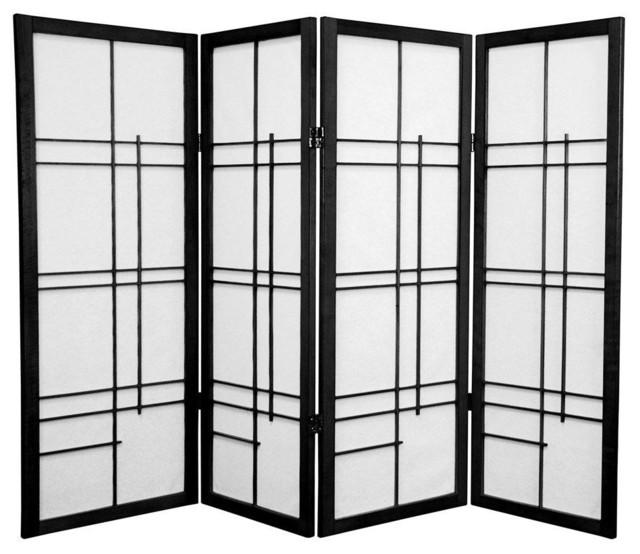 Tall Eudes Shoji Screen Black 4 Panels Screens And