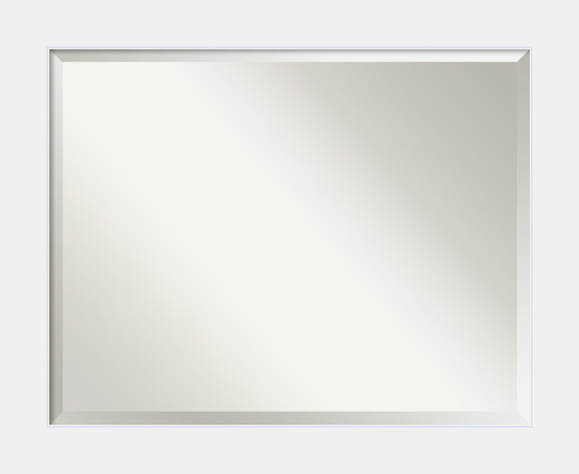 Bathroom Mirror Large, Corvino White: Outer Size 33 X 27.