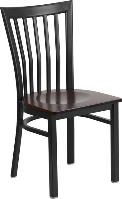 Hercules Series Black School House Back Metal Restaurant Chair, Walnut Wood Seat by Flash Furniture