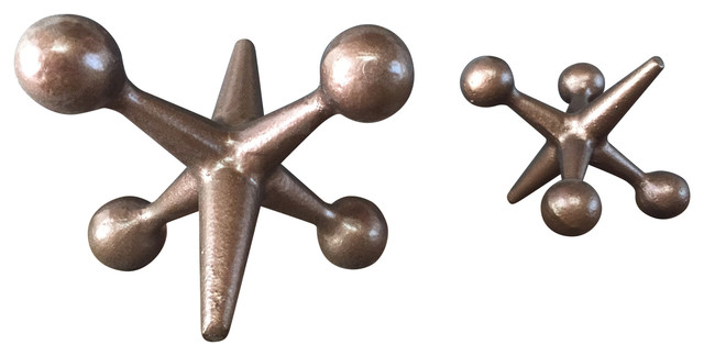 Mid Century Modern Style Cast Iron Jacks Bookends, Set of 2, Copper