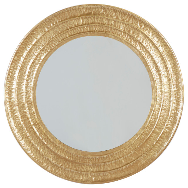Large Round Gold Metal Hammered Wall, X Large Round Gold Mirror