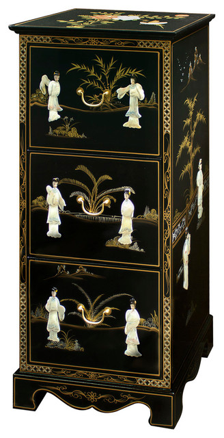 China Furniture and Arts - Black Lacquer Mother of Pearl File Cabinet - View in Your Room! | Houzz