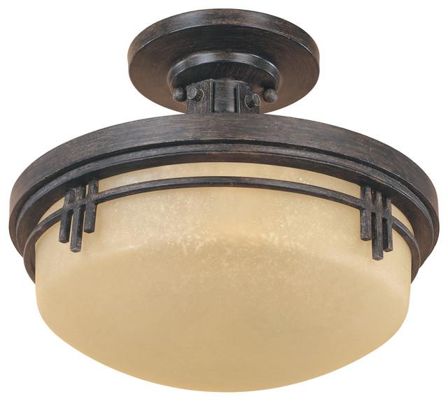 Warm Mahogany Asian Two Light Semi Flush Ceiling Fixture.