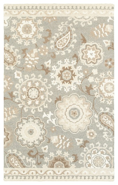 Oriental Weavers Craft Gray/sand Floral 93003 Area Rug, 5&x27;x8&x27; Rectangle.