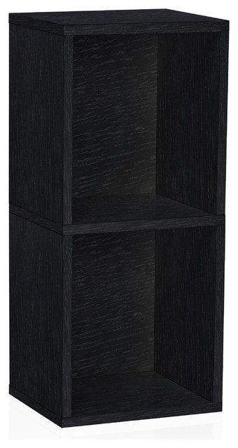 Eco 2-Shelf Narrow Cubby Bookcase, Non Toxic Z-Board, Black.