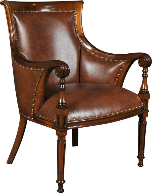 Chair Accent Regency Reeded Legs Scrolled Traditional