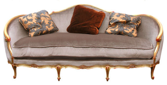 Carved Wood Sofa With Antiqued Gold Finish Sofas Miami
