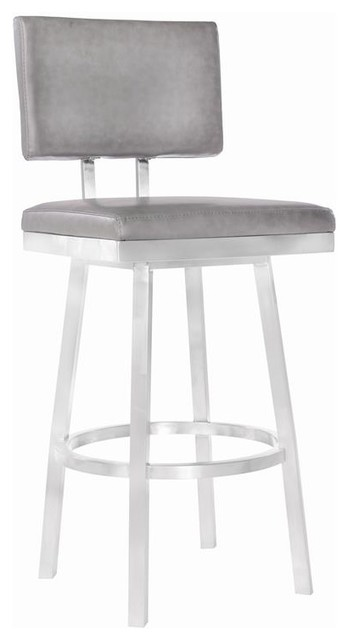 Phenomenal Balboa 26 Counter Height Barstool Brushed Stainless Steel Gray Faux Leather Onthecornerstone Fun Painted Chair Ideas Images Onthecornerstoneorg