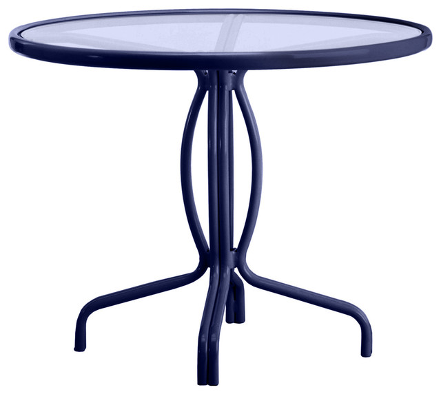 Tamiami Round Bistro Dining Table Glass Top No Umbrella Hole - 36 round outdoor dining table