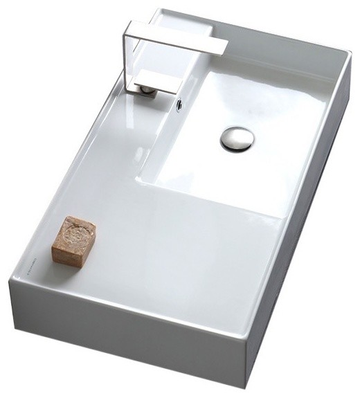 "32"" Ceramic Wall Mount Or Vessel Sink With Counter Space, 1-Hole."