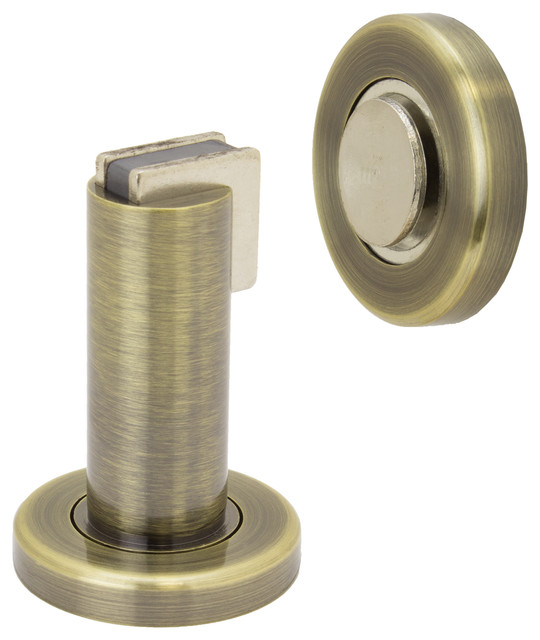 Modern Door Stop/Holder And Magnetic Catch, Antique Brass