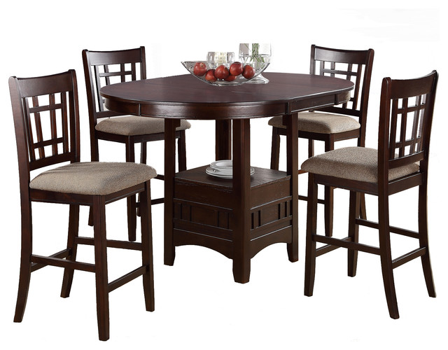 Rosy Brown 5 Piece Counter Height Dining Set Round Table, Leaf Cushion  Chair Contemporary