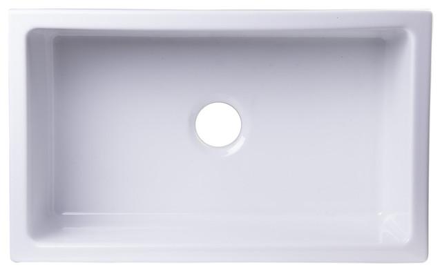"""Alfi Brand Ab3018um-W 30"""" X 18"""" Undermount White Fireclay Kitchen Sink."""