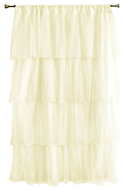 Tulle 84 Curtain Panel, Ivory, 63""