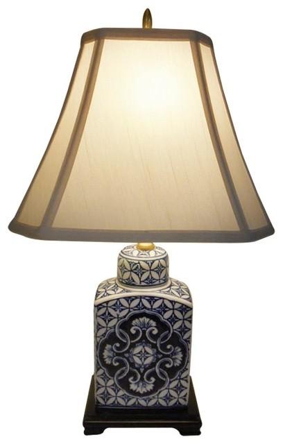 22 Quot Blue And White Porcelain Tea Jar Table Lamp Asian