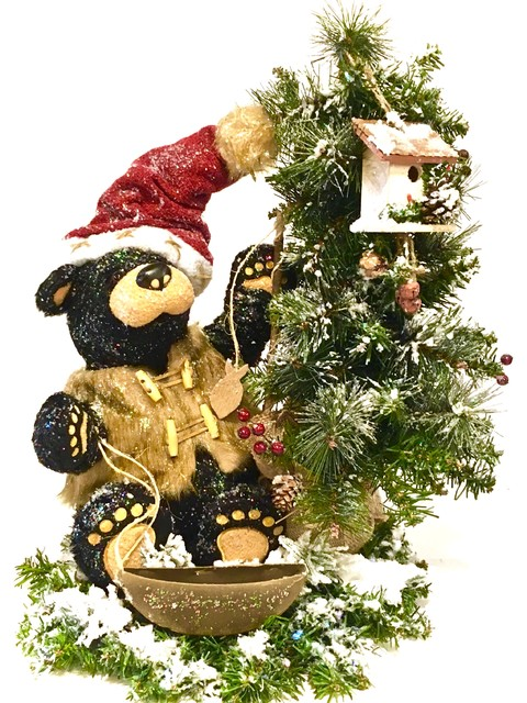 "TALL Table Top Tree & Black Bear Winter Christmas Arrangement ""Gone Fishing"" LG - Rustic - Holiday Accents And Figurines - by Sandy Newhart Designs"