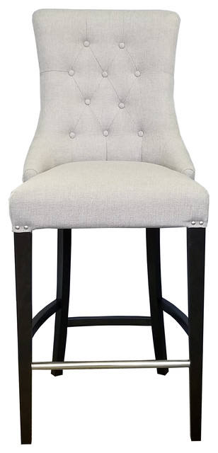 Tufted Counter Stool, Brushed Silver Studs, Pebble Gray Linen