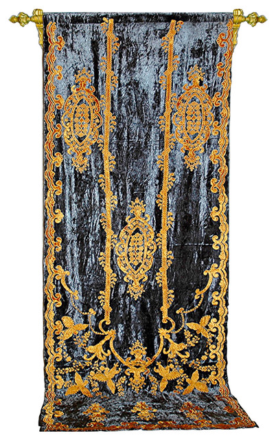 Debage Applique Velvet Curtain, Brown And Gold.