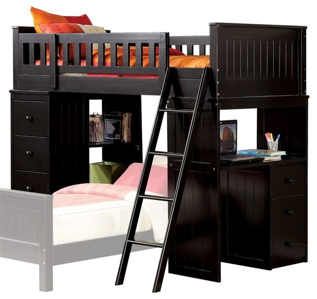 Acme Willoughby Twin Loft Bed With Desk, Black.