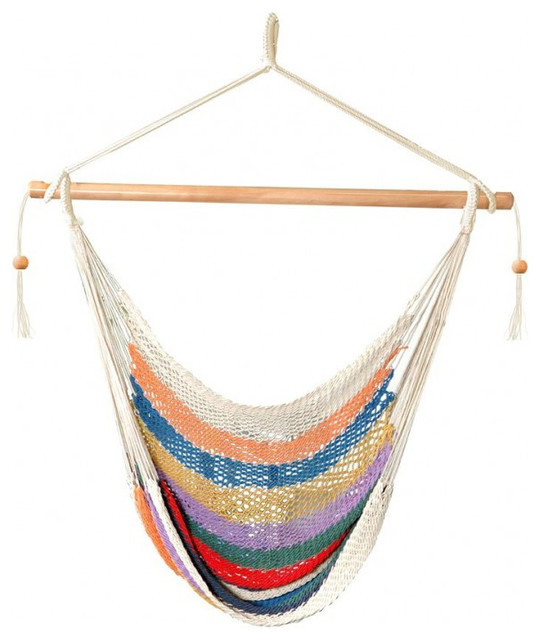 Patio bliss island rope chair multi color multicolor for Rope hammock plans