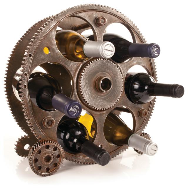 Gears And Wheels Bottle Rack.