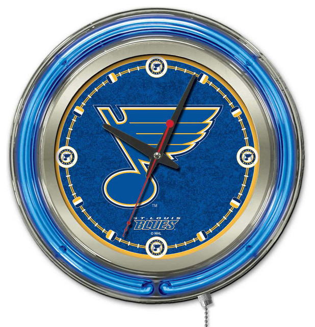 St Louis Blues Neon Light Clock Contemporary Wall