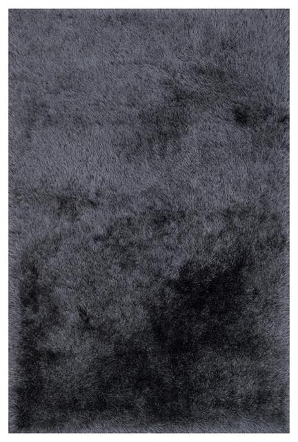 Sona Hollywood Modern Sleek Charcoal Gray Shag Rug, 9&x27;3x13.