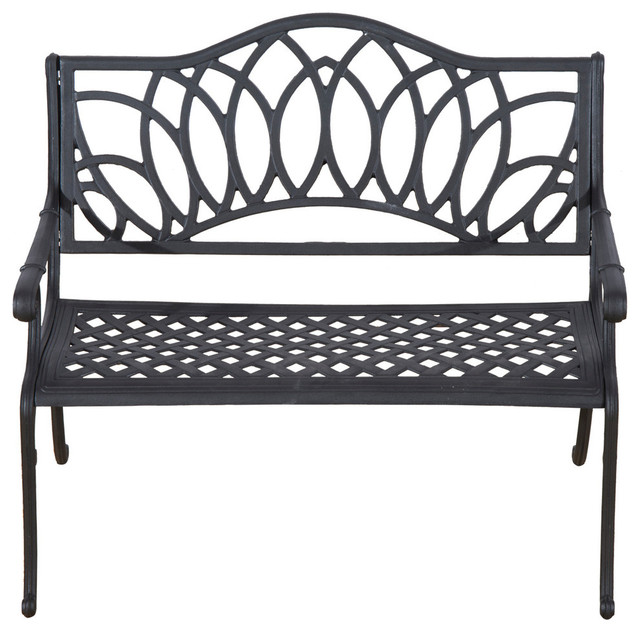 Outsunny 41 Lotus Flower Pattern Decorative Outdoor Garden Bench, Black