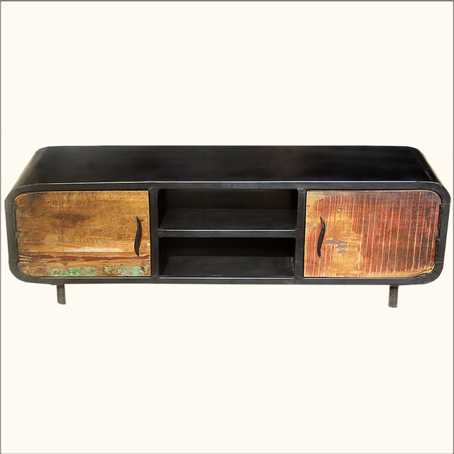 Shop Houzz | Sierra Living Concepts Reclaimed Wood & Iron 1950's Retro Media Console Cabinet ...
