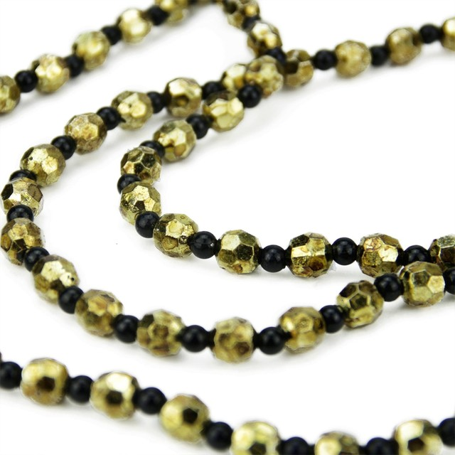 30 Elegant Contemporary Style Black And Gold Beaded Christmas Garland.