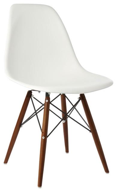 White DSW Dining Shell Chairs Dark Walnut Wood Eiffel Legs