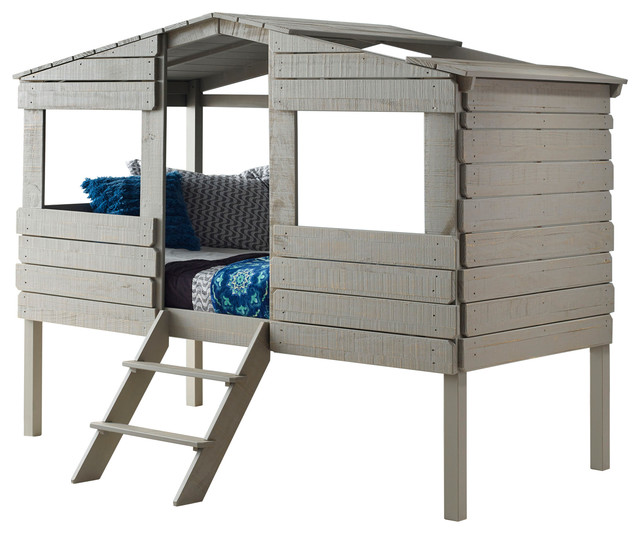 Donco Kids Archie Twin Treehouse Loft Bed, Rustic Gray.