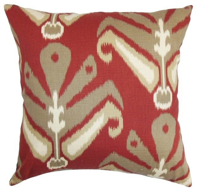 Sakon Ikat Pillow Red Brown Mediterranean Decorative Pillows Delectable Red And Brown Decorative Pillows