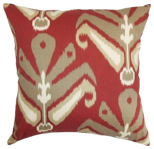 Sakon Ikat Pillow Red Brown Mediterranean Decorative Pillows