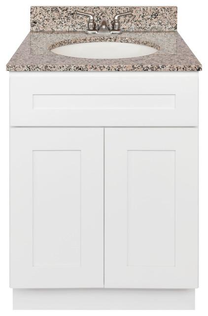 White Bathroom Vanity 24 Burlywood Granite Top Faucet Lb3b Transitional Bathroom Vanities And Sink Consoles By Aaadistributorcom