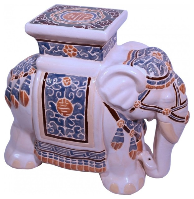18 Quot Asian Ceramic Assorted Color Hand Painted Elephant