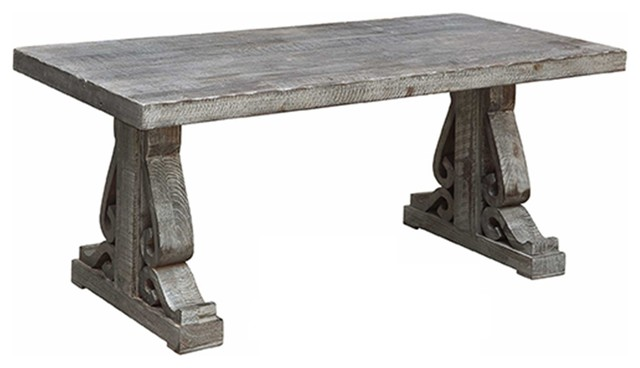 Crestview Overton Distressed Gray Carved Leg Cocktail Table Farmhouse Coffee Tables