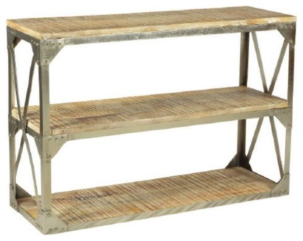 Modern Console Table With Mango Wood Top and Nickel Finish industrial  console tables. Modern Console Table With Mango Wood Top and Nickel Finish