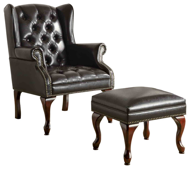 Traditional Black Wing Back Button Tufted Chair And Ottoman Accent Seating