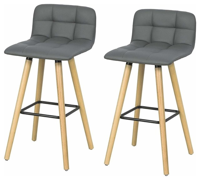 Modern Set Of 2 Bar Stool Upholstered Grey Faux Leather With Wooden Legs Stools And Kitchen By Decor Love