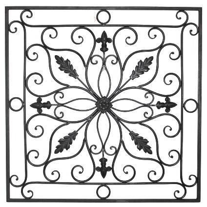 Lucina Tuscan 24 Square Indoor Outdoor Wrought Iron Wall Grille Plaque