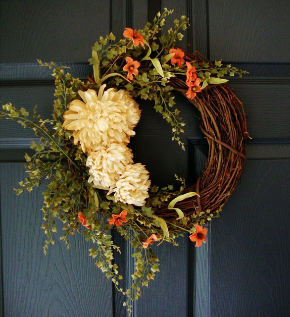 "Fall Wreath with ""Tea-Stained"" Mums by HomeHearthGarden"