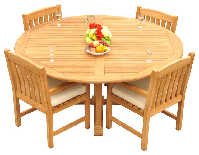 Tremendous 5 Piece Outdoor Patio Teak Dining Set 72 Round Table 4 Devon Arm Chairs Pdpeps Interior Chair Design Pdpepsorg