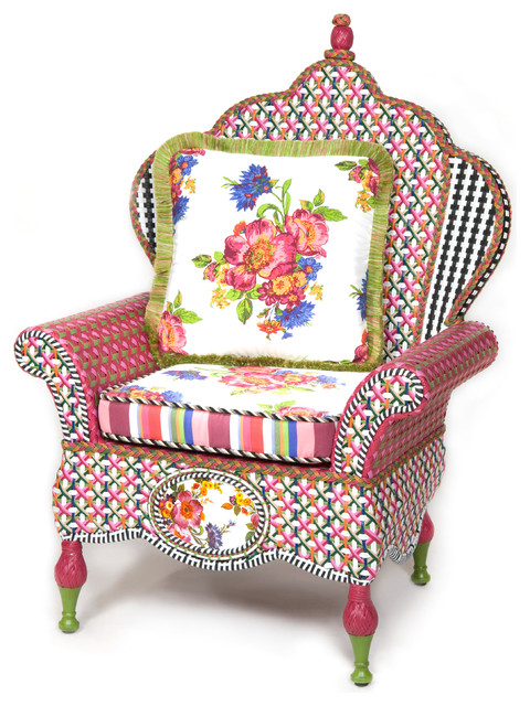 Flower Market Outdoor Wing Chair | MacKenzie Childs Eclectic Outdoor Lounge  Chairs