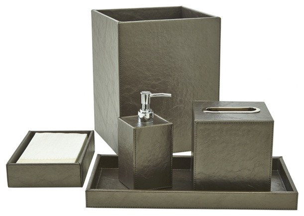 Papier bath accessory set platinum contemporary - Modern bathroom accessories sets ...